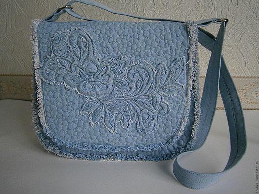 Женские сумки ручной работы. Ярмарка Мастеров - ручная работа. Купить сумка джинсовая стеганая  Голубой Деним. Handmade. Голубой