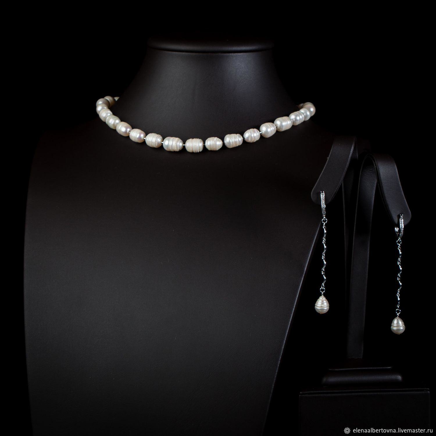 e76d9756a54 Jewelry Sets handmade. Order White pearl necklace and classic earrings set.