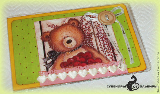 """Обложки ручной работы. Ярмарка Мастеров - ручная работа. Купить """"Мишка"""" Обложка на зачетку. Handmade. Обложки, зачетка, скрап, медведи"""