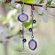 Украшения handmade. Livemaster - original item Wild plum silver earrings (925 silver, rose quartz). Handmade.