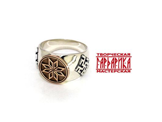 Мужской перстень `Алатырь`. Серебро с золотом