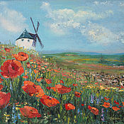 Картины и панно handmade. Livemaster - original item Painting Poppies, field of poppies, landscape oil on canvas. Handmade.