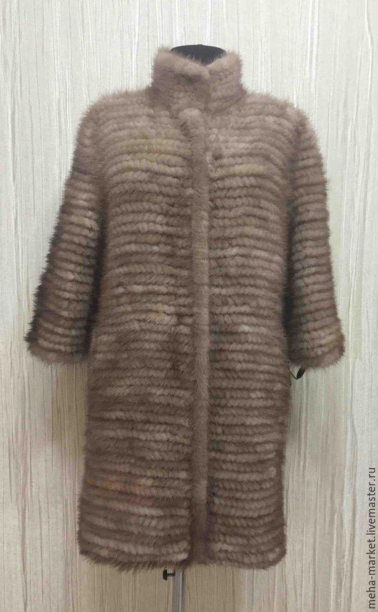 Пальто из вязаной норки «Elena beige»