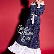 Одежда ручной работы. Ярмарка Мастеров - ручная работа Синее летнее длинное коктейльное макси бохо платье с открытыми плечами. Handmade.