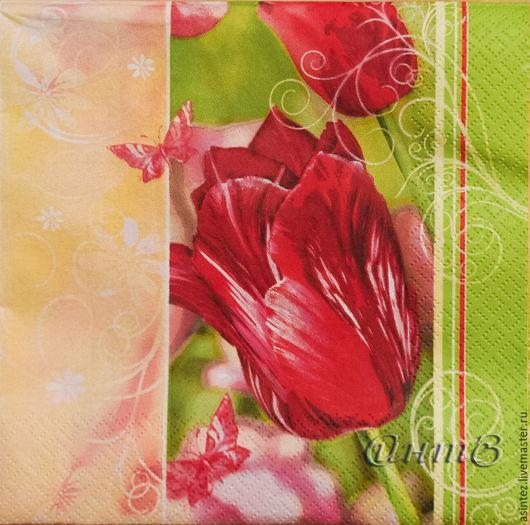 Декупаж и роспись ручной работы. Ярмарка Мастеров - ручная работа. Купить 7шт салфетки декупажные цветы тюльпаны праздник принт. Handmade.