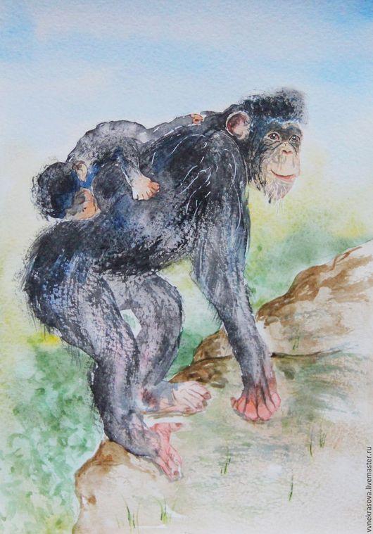 Животные ручной работы. Ярмарка Мастеров - ручная работа. Купить Акварель. Картина с обезьянами. Шимпанзе. Подарок на новый год. Handmade.
