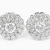 Украшения handmade. Livemaster - original item 14K Diamond Stud Earrings, Diamond Studs, Halo Diamond Studs, Bridal E. Handmade.