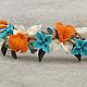 Браслеты ручной работы. Заказать Летний бирюзово-оранжевый браслет из цветов. Серьги.. Украшения - миру. Ярмарка Мастеров. Бирюзово-оранжевый