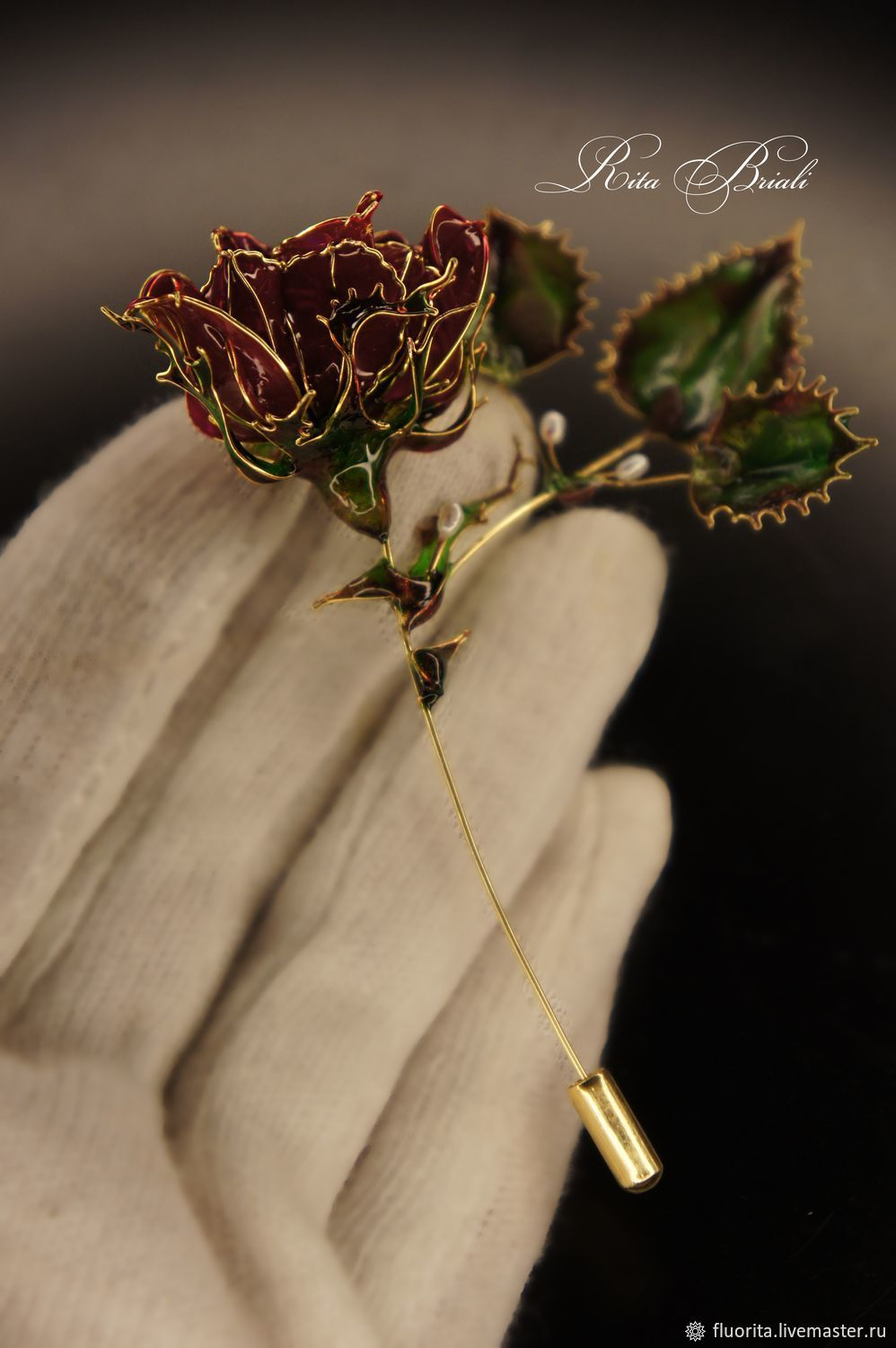 Gold-plated brooch 'Red rose' Rita Briali, Brooches, St. Petersburg,  Фото №1