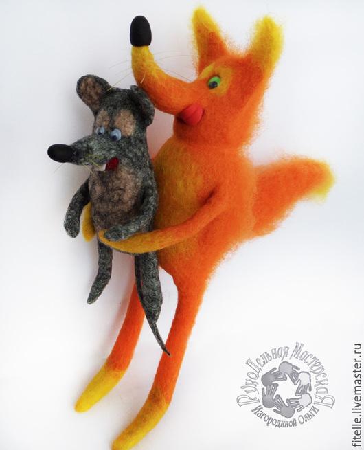 Кукольный театр ручной работы. Ярмарка Мастеров - ручная работа. Купить Лис и мышонок. Handmade. Разноцветный, игрушка для детей, театр