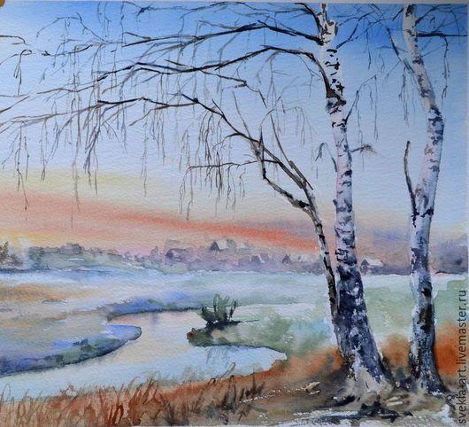 """Пейзаж ручной работы. Ярмарка Мастеров - ручная работа. Купить Акварель """"Берёзки морозным утром"""". Handmade. Разноцветный, рассвет, березки"""