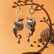 Украшения handmade. Livemaster - original item Chrysanthemum Bird Earrings. Handmade.