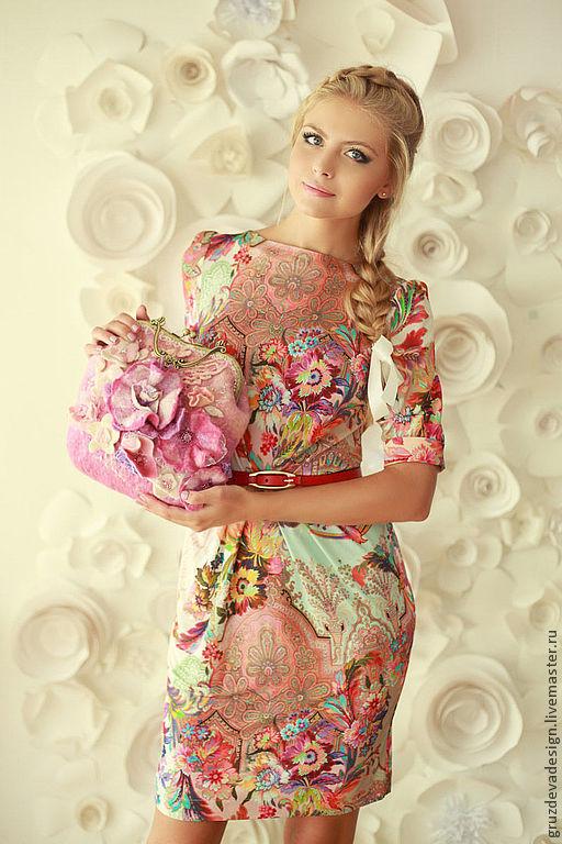 Платья ручной работы. Ярмарка Мастеров - ручная работа. Купить Яркое шелковое платье на каждый день. Handmade. Цветочный