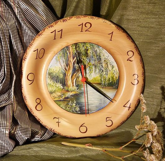 Часы для дома ручной работы. Ярмарка Мастеров - ручная работа. Купить Часы из кедра серия Пейзаж. Handmade. Часы