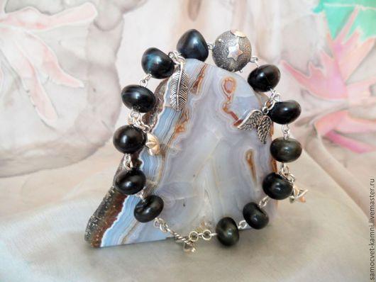 Браслеты ручной работы. Ярмарка Мастеров - ручная работа. Купить серебряный браслет с природным соколиным глазом В ночном небе. Handmade.