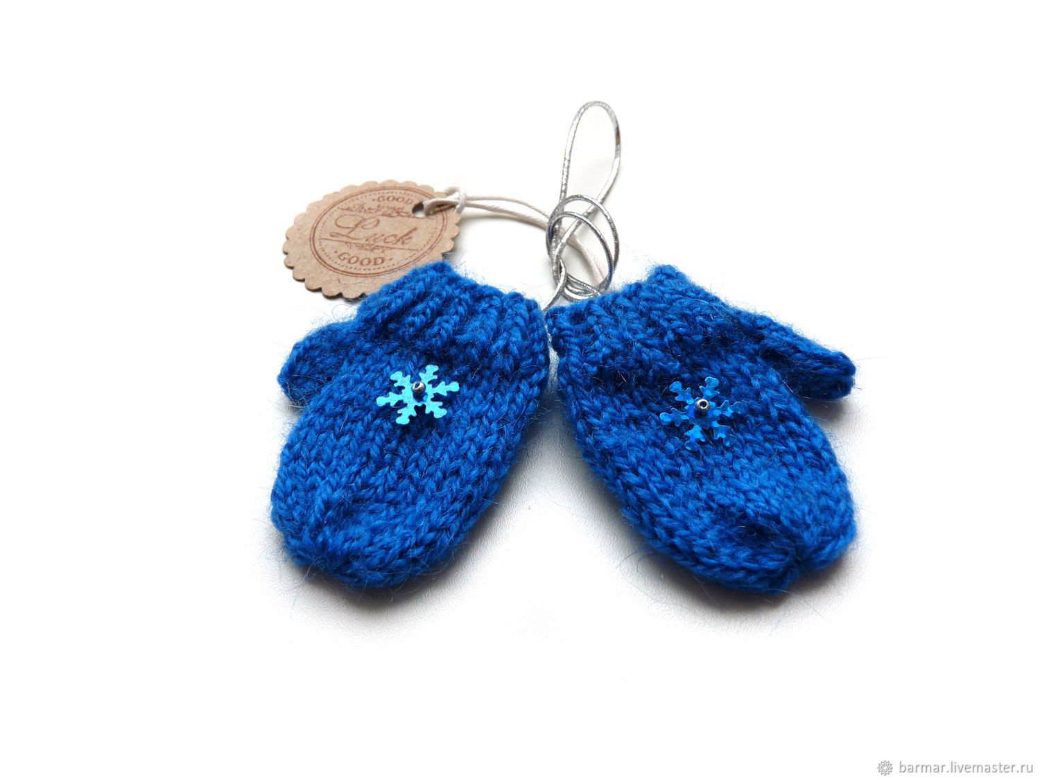 Doll mittens 5 cm knitted blue, Clothes for dolls, Moscow,  Фото №1