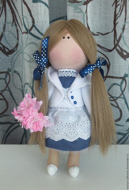 Куклы тыквоголовки ручной работы. Ярмарка Мастеров - ручная работа. Купить Ученица. Handmade. Синий, хлопок, трессы для кукол