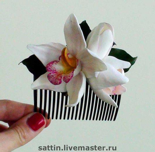 Заколки ручной работы. Ярмарка Мастеров - ручная работа. Купить Гребешок с Орхидеями. Handmade. Гребешок, Свадебный цветок