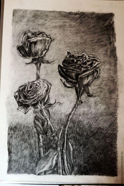 """Картины цветов ручной работы. Ярмарка Мастеров - ручная работа. Купить Графика """"Розы"""". Handmade. Темно-серый, готика"""