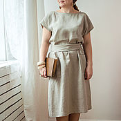 Одежда ручной работы. Ярмарка Мастеров - ручная работа Серое льняное платье. Handmade.