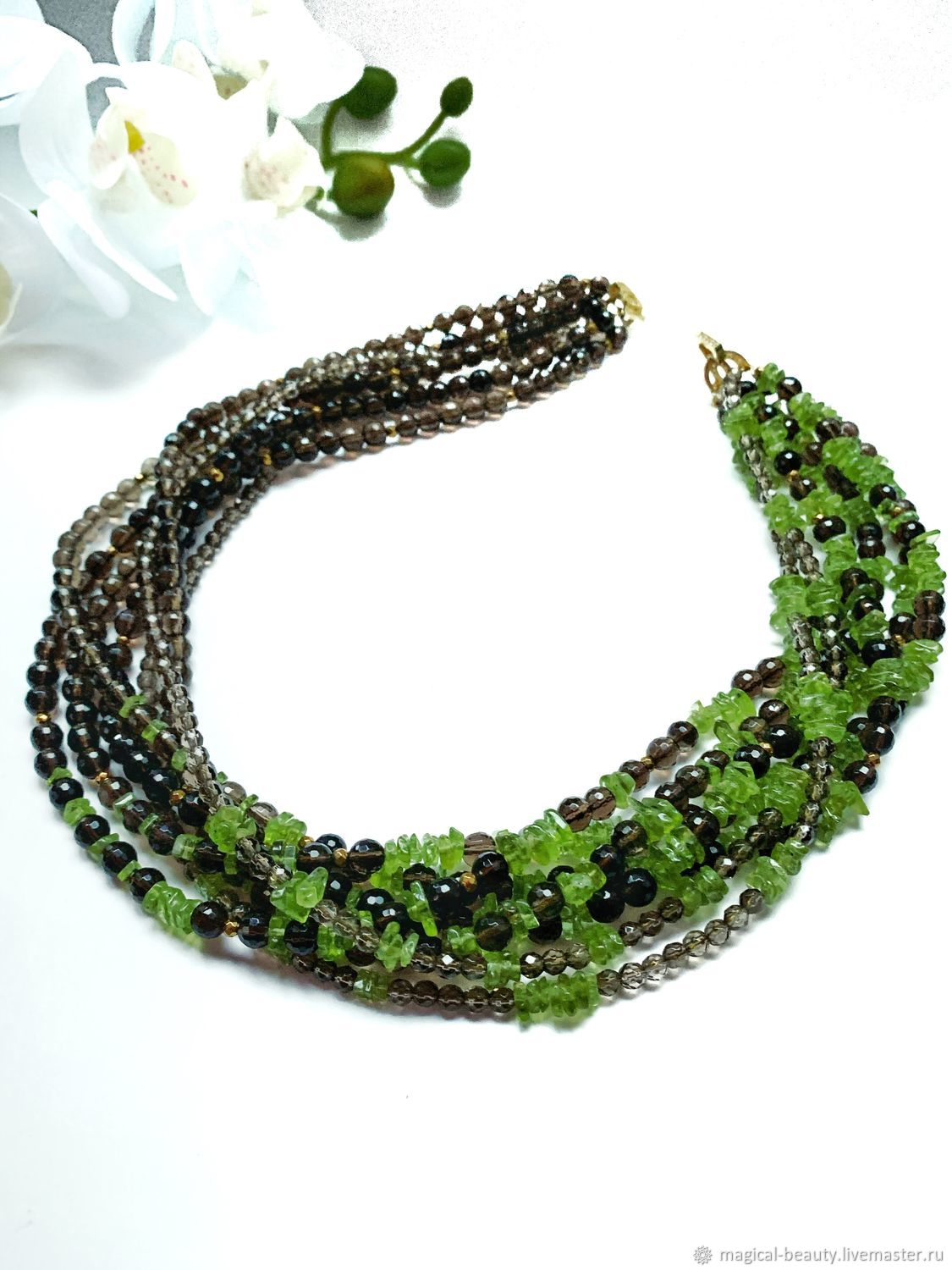 Necklace with rauchtopaz and chrysolite, Necklace, Moscow,  Фото №1