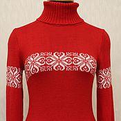 Одежда ручной работы. Ярмарка Мастеров - ручная работа Свитер Снежинки на красном. Handmade.