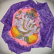"""Аксессуары ручной работы. Ярмарка Мастеров - ручная работа Фиолетовый шелковый платок """"Маленький Будда"""" батик. Handmade."""