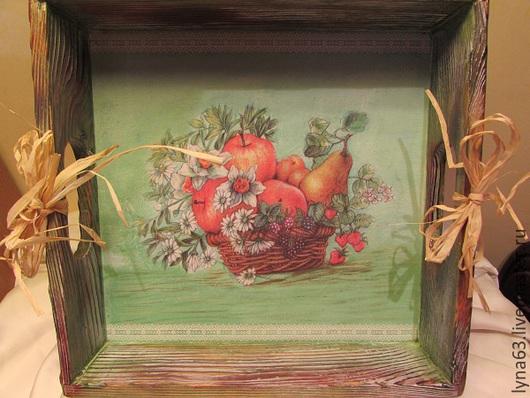 """Кухня ручной работы. Ярмарка Мастеров - ручная работа. Купить Поднос для фруктов,выпечки,конфет """"Дары леты"""". Handmade. Разноцветный"""