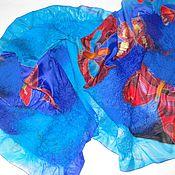 Аксессуары handmade. Livemaster - original item Batik tippet felted blue. Handmade.