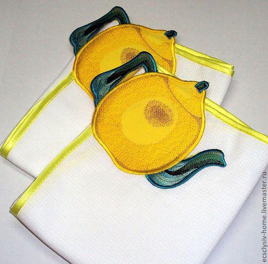 """Кухня ручной работы. Ярмарка Мастеров - ручная работа. Купить Полотенчик """"Чай с лимоном"""". Handmade. Полотенце, подарок, подарок подруге"""