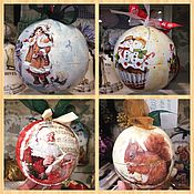 Подарки к праздникам ручной работы. Ярмарка Мастеров - ручная работа Шары деревянные новогодние( дизайн разный )( шары большие 10 см). Handmade.