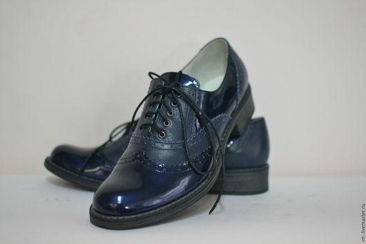 Обувь ручной работы. Ярмарка Мастеров - ручная работа. Купить Броги Синие. Handmade. Тёмно-синий, женская обувь