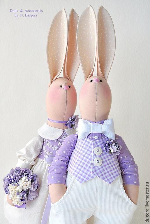 Игрушки животные, ручной работы. Ярмарка Мастеров - ручная работа. Купить Свадебные зайцы в сиреневых тонах. Подарок на свадьбу. Handmade.