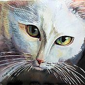 """Картины и панно ручной работы. Ярмарка Мастеров - ручная работа Картина """"Серьезный кот"""". Handmade."""