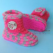 Работы для детей, handmade. Livemaster - original item Boots knitted plush for the street, knitted shoes, children`s shoes. Handmade.