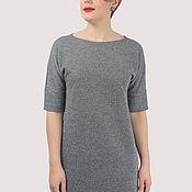 Одежда handmade. Livemaster - original item Dress classic straight knitted gray with lurex. Handmade.