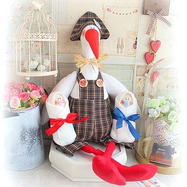 Куклы и игрушки ручной работы. Ярмарка Мастеров - ручная работа Аист BIG SIZE сдвойняшками. Handmade.