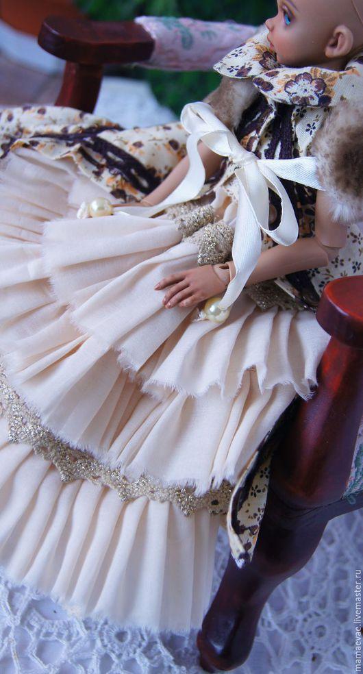Одежда для кукол ручной работы. Ярмарка Мастеров - ручная работа. Купить Молочный шоколад. Handmade. Бежевый, комплект, атласная лента