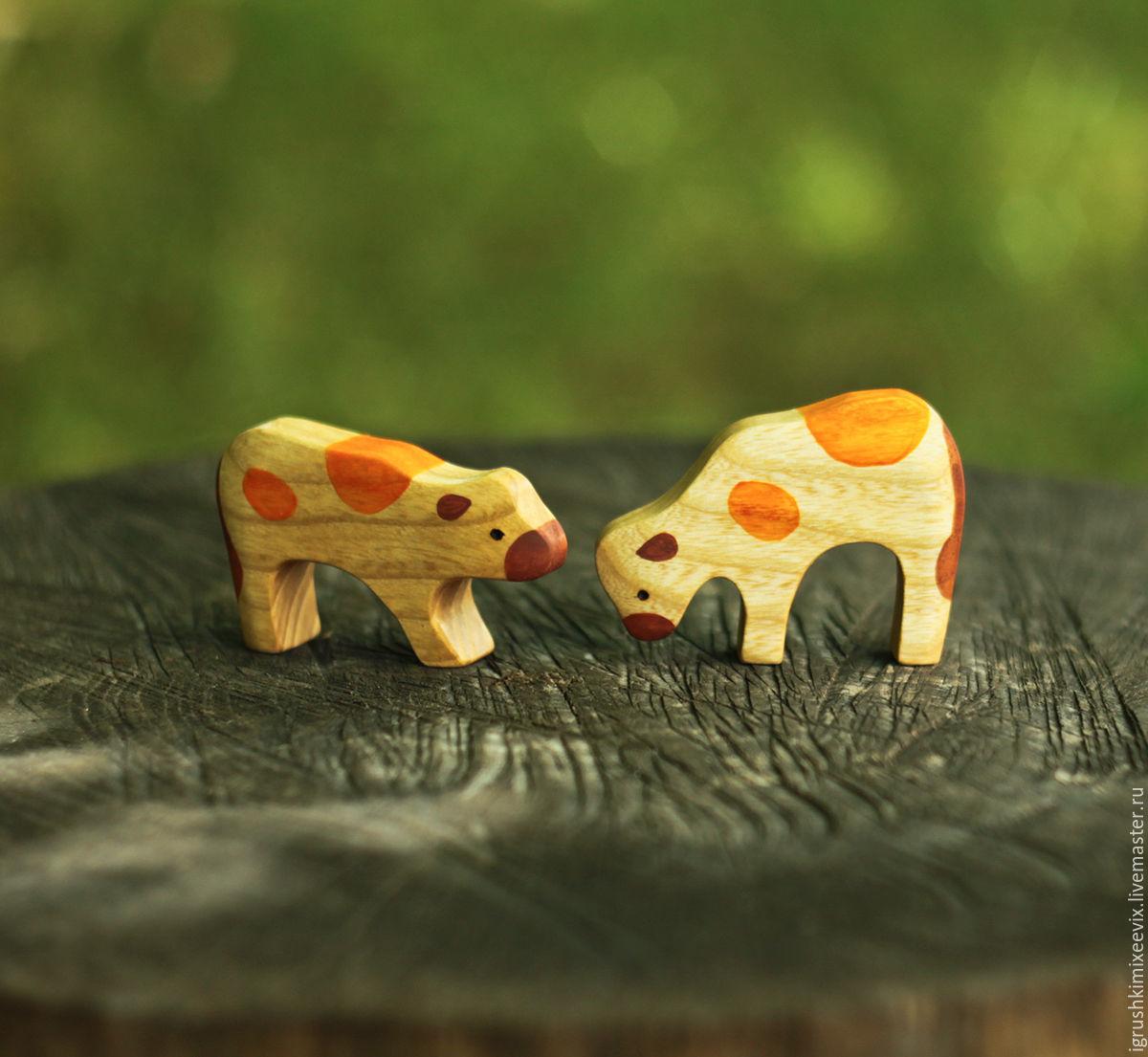Игрушки животные, ручной работы. Ярмарка Мастеров - ручная работа. Купить Телята. Деревянные игрушки. Handmade. Корова, деревянный