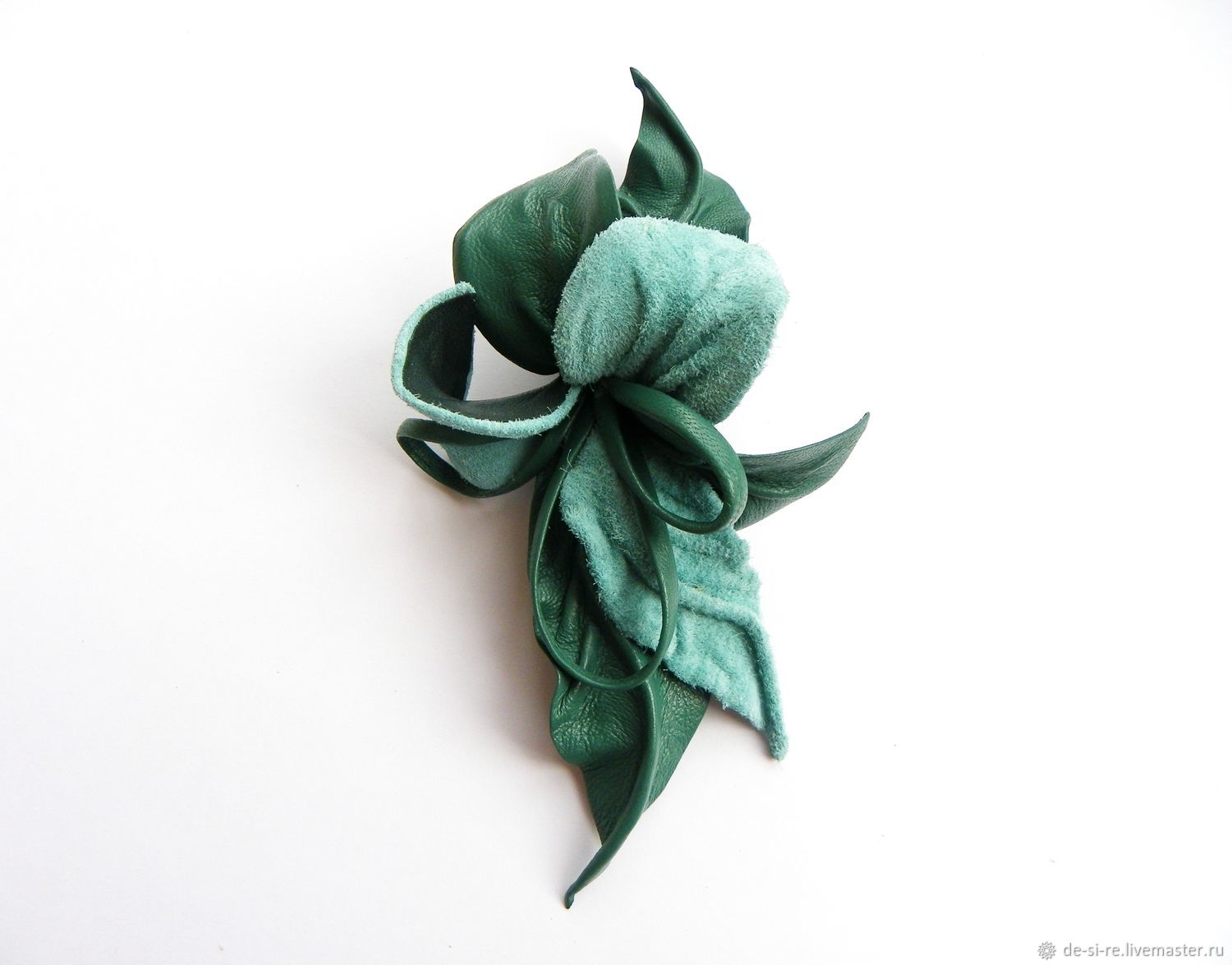 Brooch flower leather `Minty Fresh` minty emerald green with hinges. The brooch on the bag, belt, summer hat, coat, jacket, dress, scarf, shawl, scarf, tippet, outerwear. Gift woman girl.