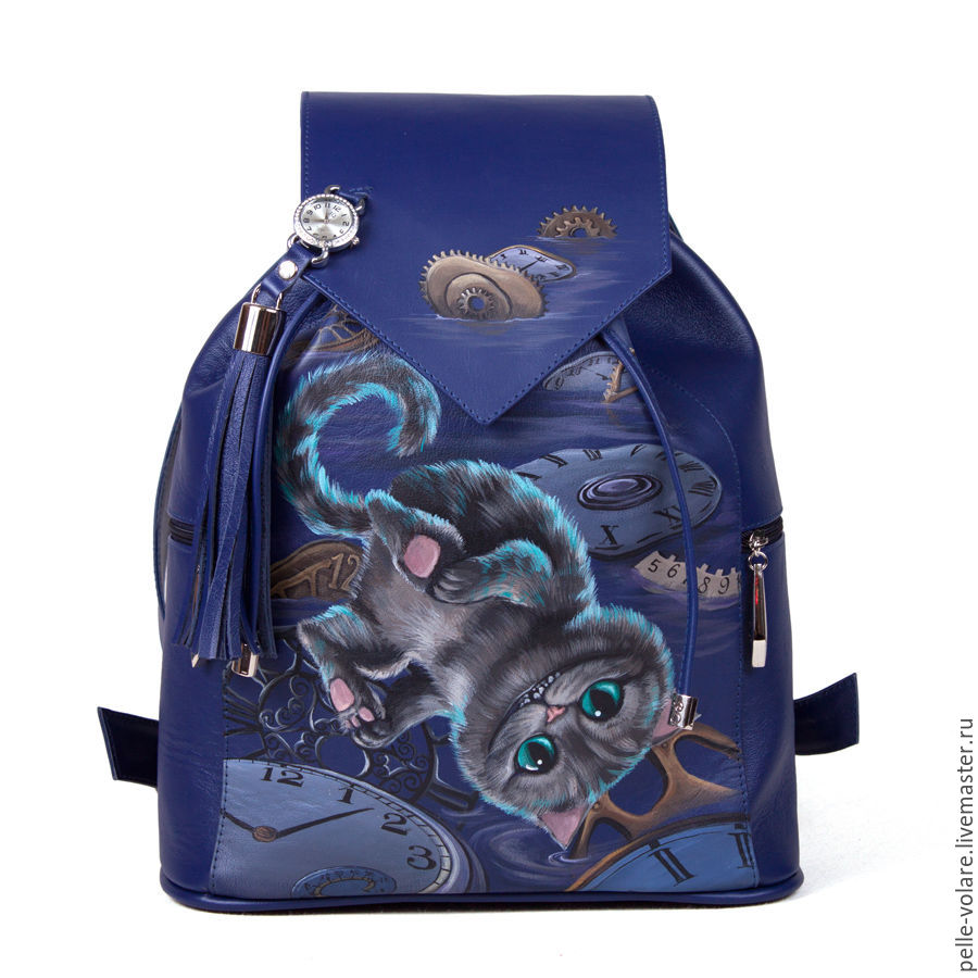 Small Cheshire on Your backpack.