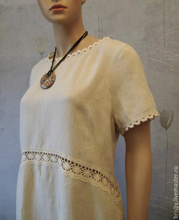 Купить платье льняное с кружевом