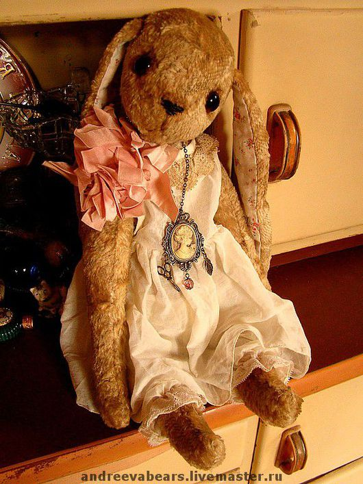 """Мишки Тедди ручной работы. Ярмарка Мастеров - ручная работа. Купить Тедди-зайка """"Мамино колье"""". Handmade. Зайка, бежевый"""