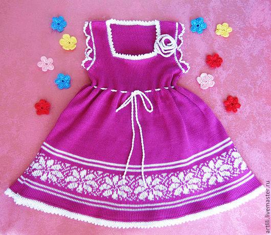 """Одежда для девочек, ручной работы. Ярмарка Мастеров - ручная работа. Купить платье вязаное летнее для девочки """" Фуксия"""". Handmade."""