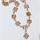 Колье `Золото скифов`, белое с золотым из полимерной глины. Пулина Елена