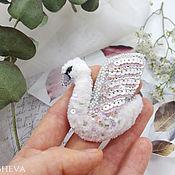 Украшения handmade. Livemaster - original item Swan brooch embroidered with beads. Handmade.