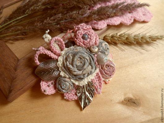 """Броши ручной работы. Ярмарка Мастеров - ручная работа. Купить Брошь """"Утренние цветы"""". Handmade. Бледно-розовый, брошь из ткани"""