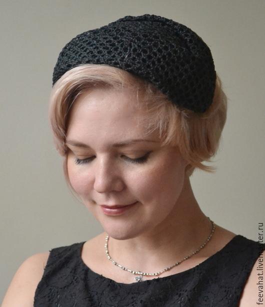 """Шляпы ручной работы. Ярмарка Мастеров - ручная работа. Купить Маленькая соломенная шляпка-накладка """"Черная"""". Handmade. Черный"""