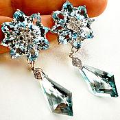 Серебряные серьги с голубыми топазами (Кольцо)
