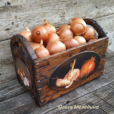 Для дома и интерьера ручной работы. Ярмарка Мастеров - ручная работа Короб ящик для лука чеснока, овощей. Handmade.
